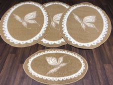 ROMANY GYPSYS WASHABLES NEW 2018 OVALS BUTTERFLY DESIGN NON SLIP BEIGES/CREAM